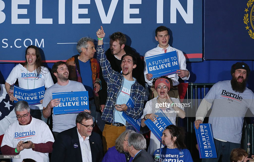 Bernie Sanders supporters cheer waiting for the candidate to come out at the candidate's New Hampshire Primary Night watch party February 9, 2016 in Concord, New Hampshire.