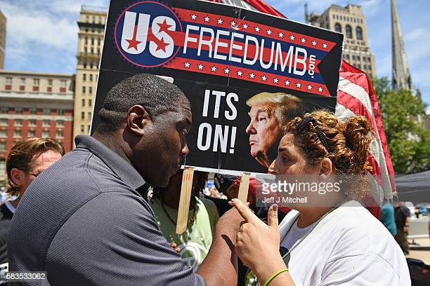 Bernie Sanders supporters gather at City Hall on the second day of the Democratic National Convention on July 26 2016 in Philadelphia Pennsylvania...
