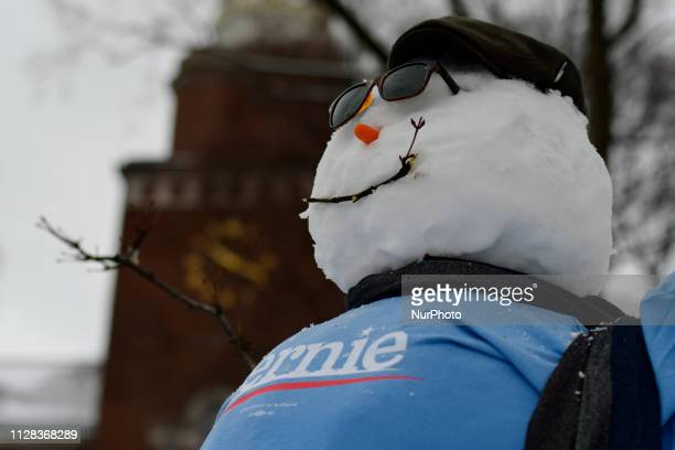 Bernie Sanders supporters wait ahead of the 2020 campaign kickoff rally at Brooklyn Collage in Brooklyn NY on March 2 2019 The independent US Senator...