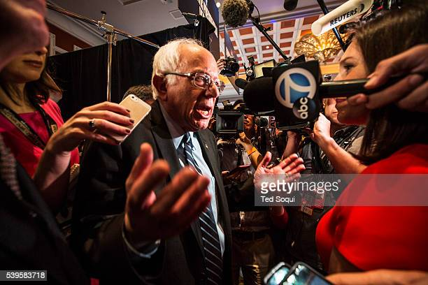 Bernie Sanders surrounded by media in the spin room post debate The first Democratic Presidential Debate at the Wynn Hotel in Las Vegas