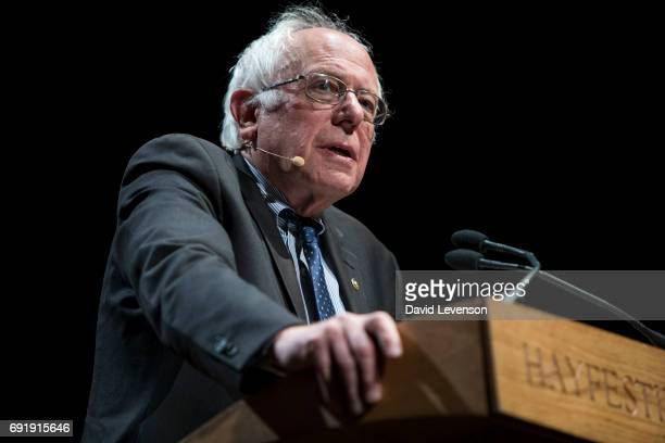 Bernie Sanders United States Senator for Vermont speaks at the Hay Festival on June 3 2017 in HayonWye United Kingdom