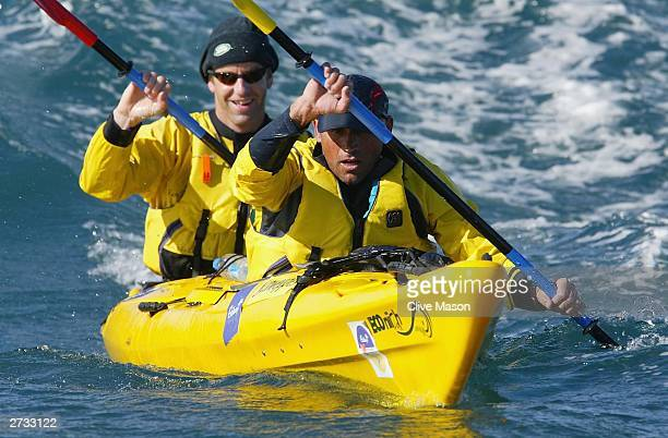Bernie Shrosbree and James Tompkins in action in their kayak on the last day of The Cadbury Schweppes Mark Webber Challenge on November 16 2003 in...