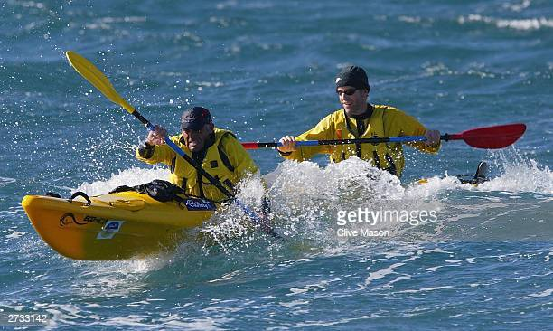 Bernie Shrosbree and James Tompkins in action in their kayak on the last day of The Cadbury Schweppes Mark Webber Challenge November 16 2003 in...