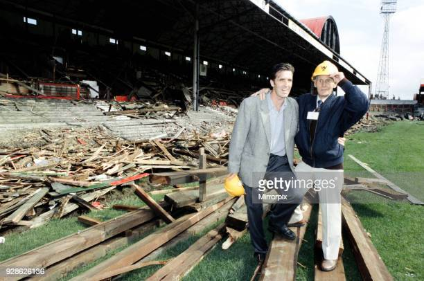 Bernie Slaven and Wilf Mannion watch as Ayresome Park the home of Middlesbrough FC is demolished following the clubs move to their new stadium 27th...