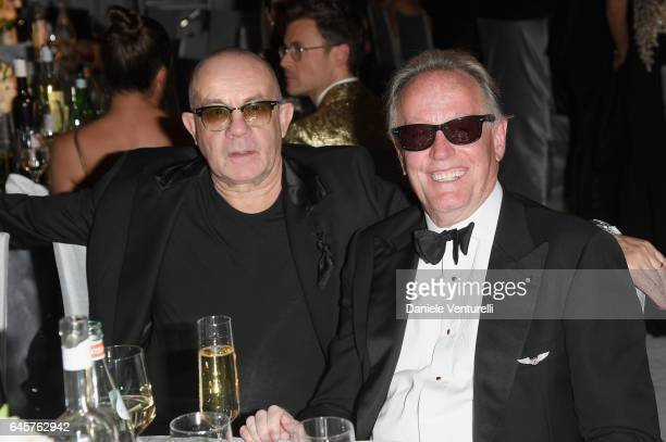 Bernie Taupin and actor Peter Fonda attend Bulgari at the 25th Annual Elton John AIDS Foundation's Academy Awards Viewing Party at on February 26...