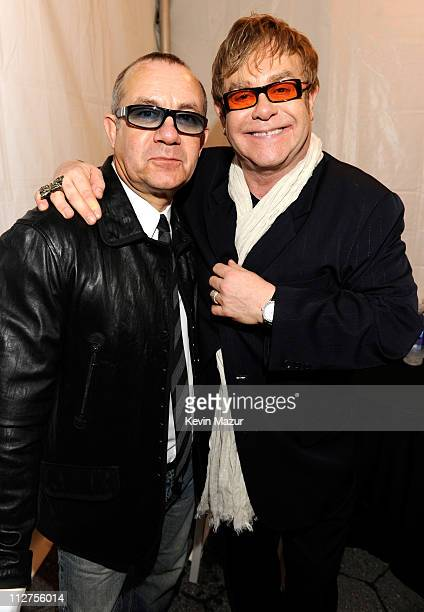 Bernie Taupin and Elton John attend opening night performance at The Union premiere during the 10th annual Tribeca Film Festival at North Cove at...