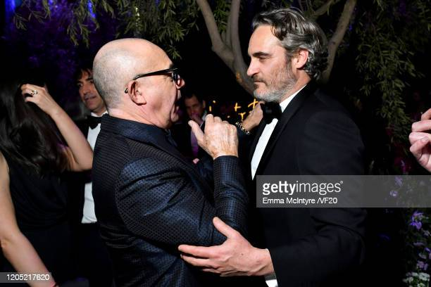 Bernie Taupin and Joaquin Phoenix attend the 2020 Vanity Fair Oscar Party hosted by Radhika Jones at Wallis Annenberg Center for the Performing Arts...