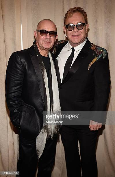 Bernie Taupin and Sir Elton John attend The 15th Annual Elton John AIDS Foundation An Enduring Vision Benefit at Cipriani Wall Street on November 2...