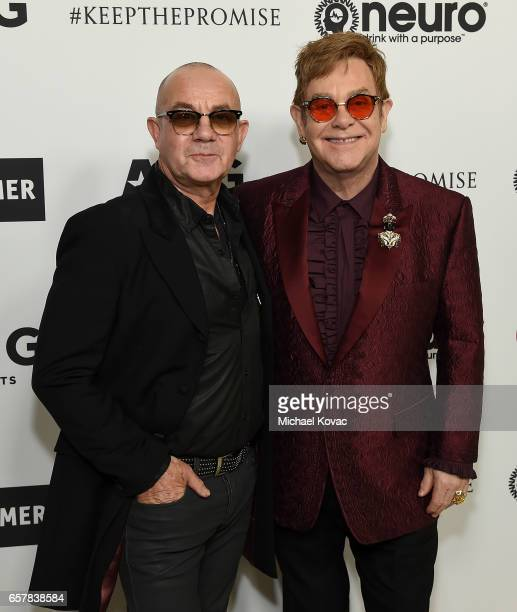 Bernie Taupin and Sir Elton John celebrate Elton John's 70th Birthday and 50Year Songwriting Partnership with Bernie Taupin benefiting the Elton John...