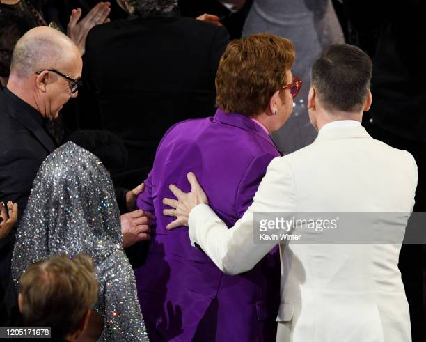 Bernie Taupin, Elton John, and David Furnish attend the 92nd Annual Academy Awards at Dolby Theatre on February 09, 2020 in Hollywood, California.