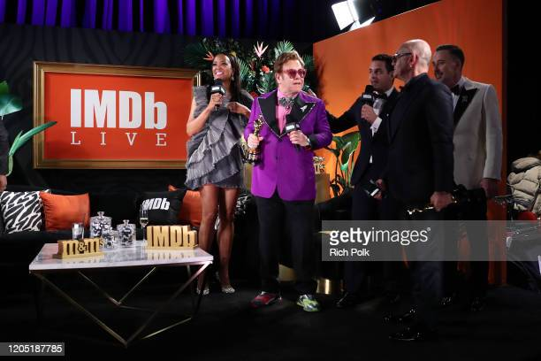 Bernie Taupin, Elton John and David Furnish speak on stage IMDb LIVE Presented By M&M'S At The Elton John AIDS Foundation Academy Awards Viewing...