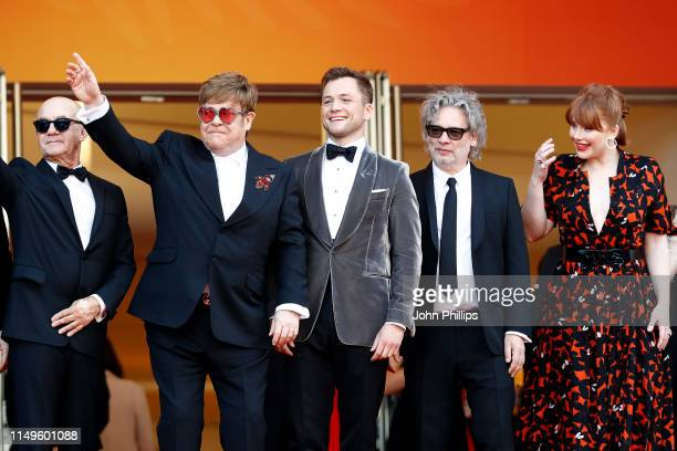 Bernie Taupin Sir Elton John Taron Egerton Dexter Fletcher and Bryce Dallas Howard attends the screening of Rocketman during the 72nd annual Cannes...