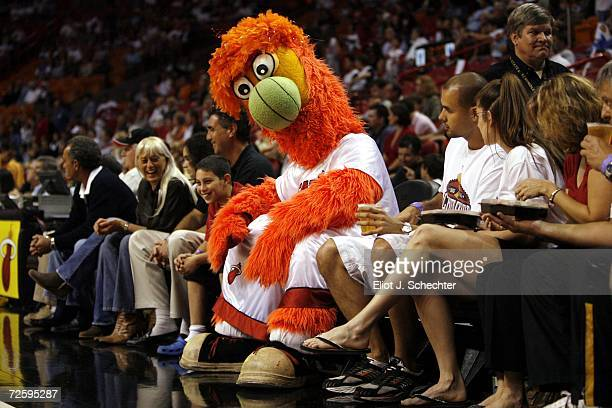 Bernie the Miami Heat Mascot sits with fans during their game against the New York Knicks on November 17 2006 at the American Airlines Arena in Miami...