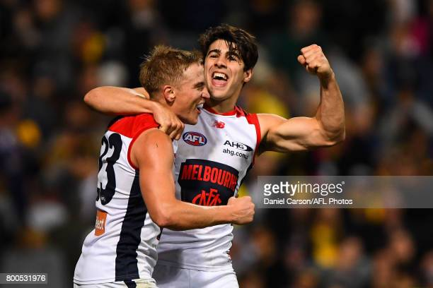 Bernie Vince and Christian Petracca of the Demons celebrates the win on the siren during the 2017 AFL round 14 match between the West Coast Eagles...