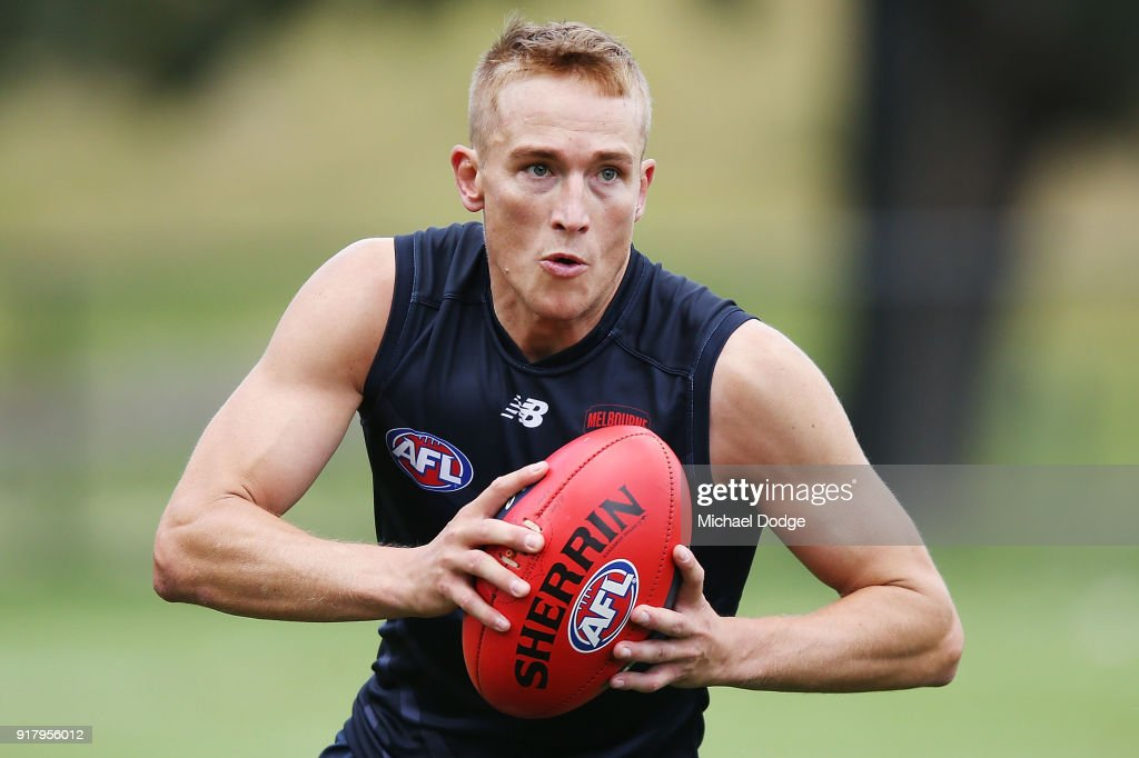 Bernie Vince of the Demons looks upfield during a Melbourne Demons AFL training session at Gosch's Paddock on February 14, 2018 in Melbourne, Australia.