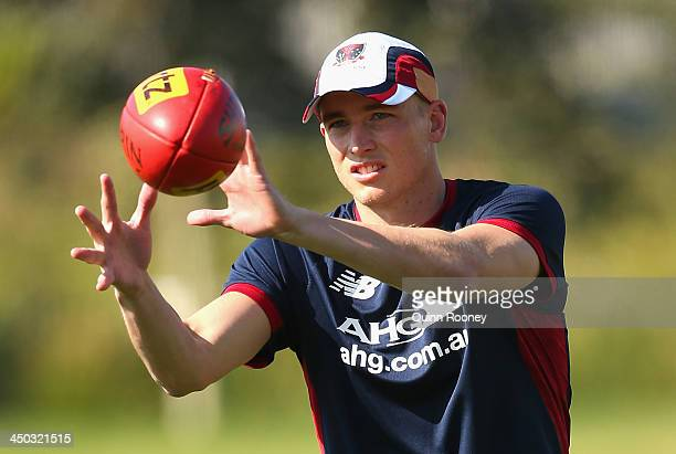 Bernie Vince of the Demons marks during a Melbourne Demons AFL training session at AAMI Park on November 18 2013 in Melbourne Australia