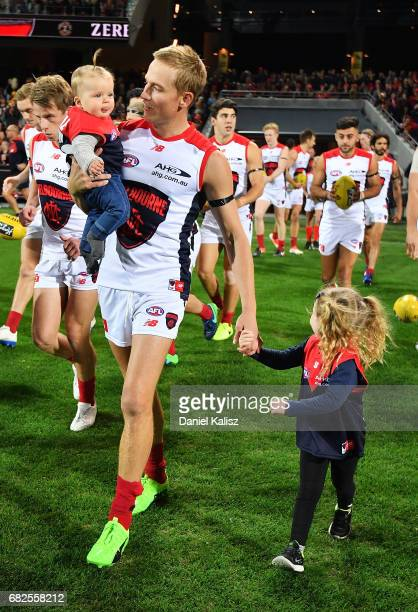 Bernie Vince of the Demons runs out onto the field for his 200th AFL game during the round eight AFL match between the Adelaide Crows and the...