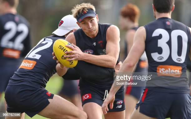 Bernie Vince of the Demons runs with the ball during a Melbourne Demons AFL training session at Gosch's Paddock on July 11 2018 in Melbourne Australia