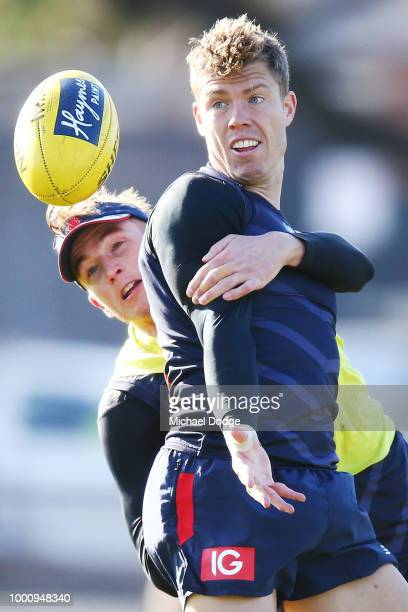 Dean Kent of the Demons looks upfield during a Melbourne Demons AFL training session at Gosch's Paddock on July 18 2018 in Melbourne Australia