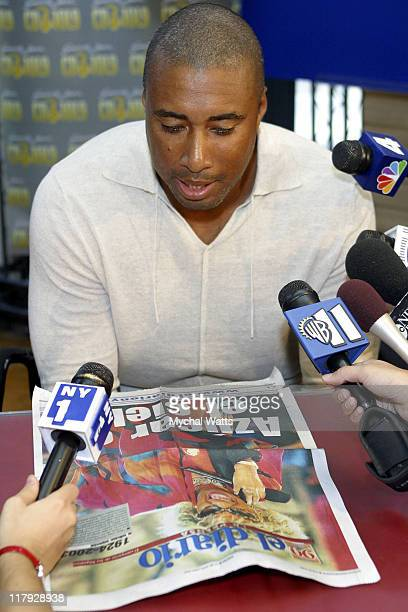 Bernie Williams during NY Yankees Star Bernie Williams Celebrates the release of his GRP debut 'The Journey Within' at NYC's FYE Record Store at FYE...