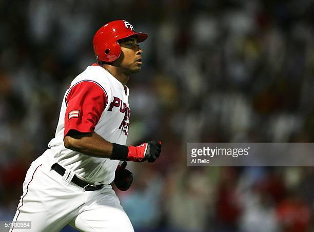 Bernie Williams of Puerto Rico rounds the bases after hitting a home run against Cuba during Round 2 of the World Baseball Classic on March 15 2006...