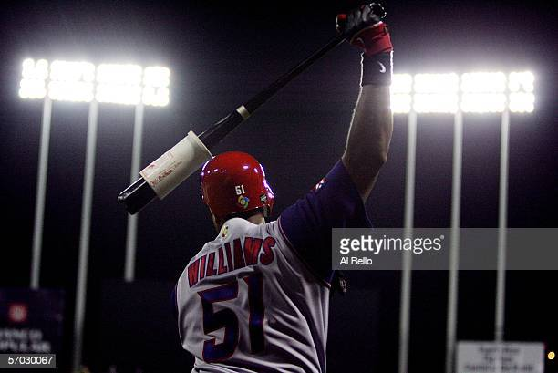 Bernie Williams of Puerto Rico warms up before batting against The Netherlands during their game at the World Baseball Classic at Hiram Bithorn...