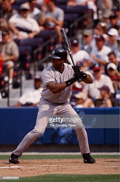 Bernie Williams of the New York Yankees bats against the Atlanta Braves at Turner Field on June 3 2000 in Atlanta Georgia
