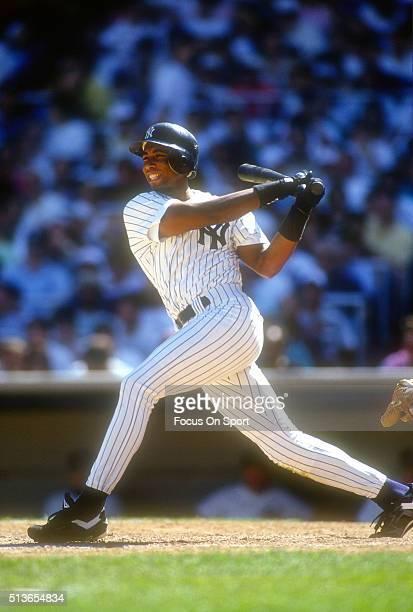 Bernie Williams of the New York Yankees bats during a Major League Baseball game circa 1993 at Yankee Stadium in the Bronx borough of New York City...