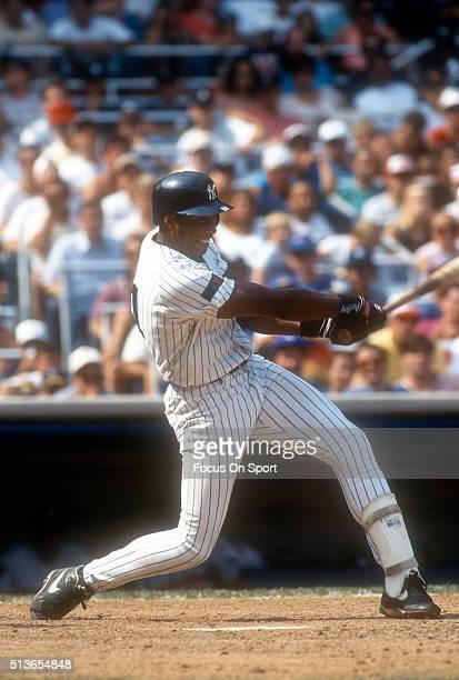 Bernie Williams of the New York Yankees bats during a Major League Baseball game circa 1994 at Yankee Stadium in the Bronx borough of New York City...