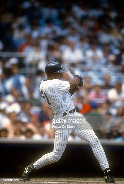 Bernie Williams of the New York Yankees bats during a Major League Baseball game circa 1995 at Yankee Stadium in the Bronx borough of New York City...
