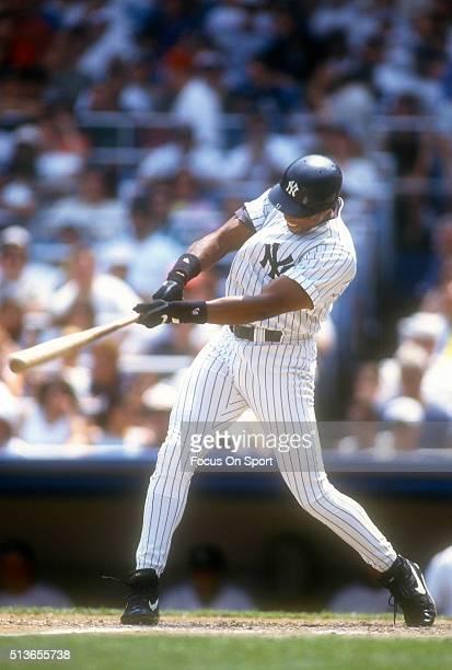 Bernie Williams of the New York Yankees bats during a Major League Baseball game circa 1996 at Yankee Stadium in the Bronx borough of New York City...
