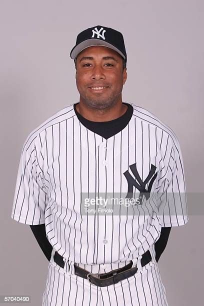 Bernie Williams of the New York Yankees during photo day at Legends Field on February 24 2006 in Tampa Florida