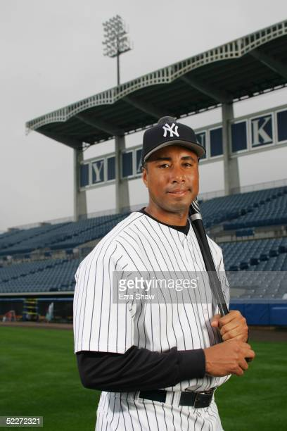 Bernie Williams of the New York Yankees poses for a portrait during Yankees Photo Day at Legends Field on February 25 2005 in Tampa Florida