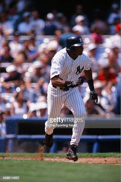Bernie Williams of the New York Yankees runs against the Cleveland Indians at Yankee Stadium on May 31 1999 in the Bronx borough of New York City