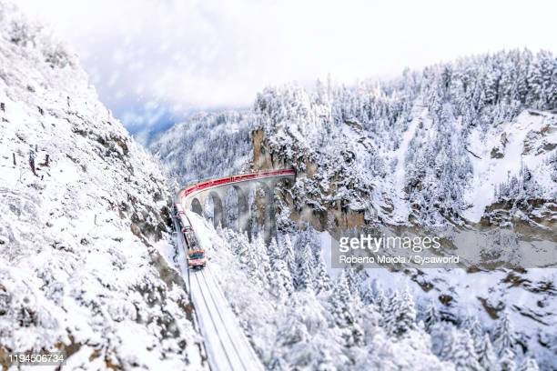 bernina express train along snowy woods, graubunden, switzerland - viaduct stock pictures, royalty-free photos & images