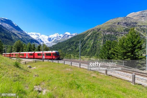 Bernina Express train at Morteratsch, Switzerland