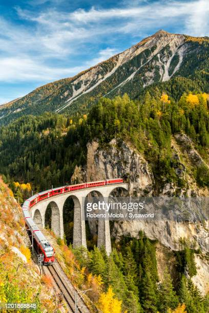 bernina express train on landwasser viaduct, switzerland - suiza fotografías e imágenes de stock