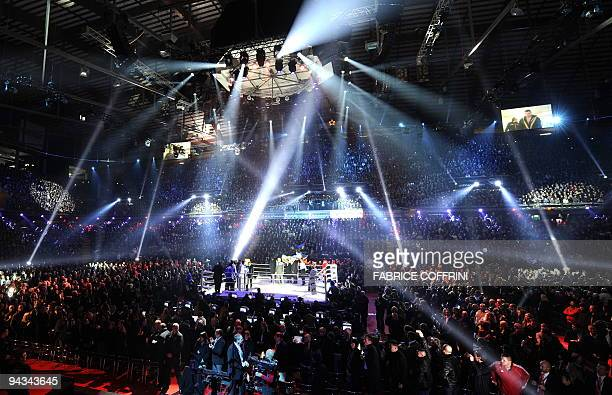 Bern's arena is seen under show lights prior to the boxing fight between Ukrainian WBC world heavyweight champion Vitali Klitschko and US challenger...