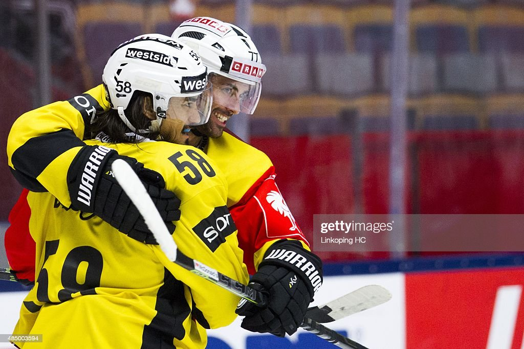 SC Bern's Eric Blum and Trevor Smith celebrates during the Champions Hockey League group stage game between Linkoping HC and SC Bern on August 23, 2015 in Linkoping, Sweden.