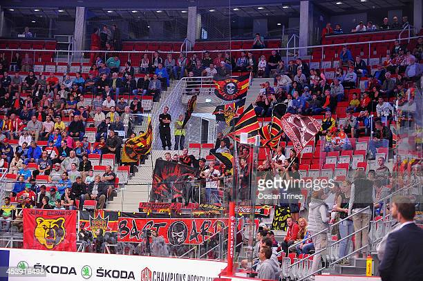 Bern´s fans during the Champions Hockey League group stage game between HC Ocelari Trinec and SC Bern on August 21 Trinec, Czech Republic.