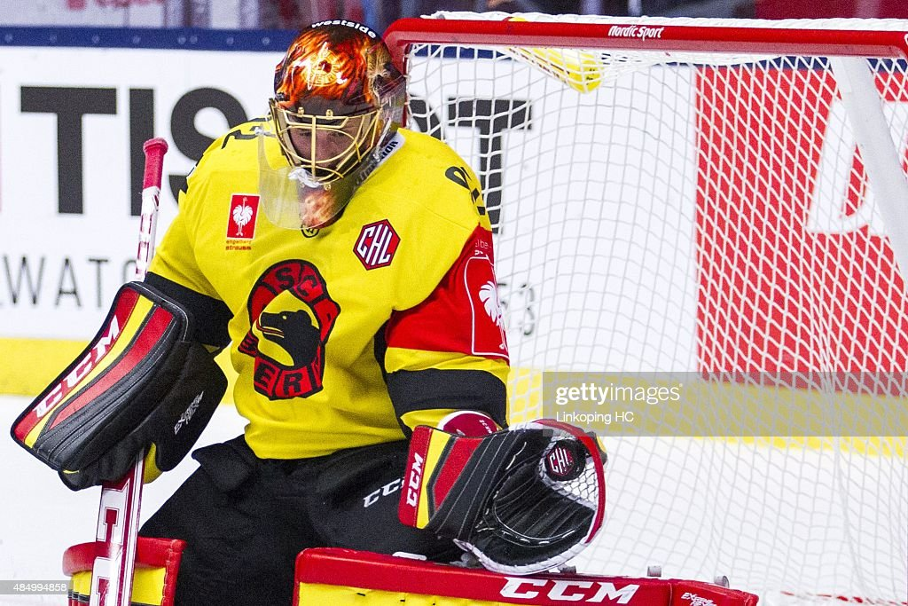 SC Bern's goalkeeper Janick Schwendener during the Champions Hockey League group stage game between Linkoping HC and SC Bern on August 23, 2015 in Linkoping, Sweden.