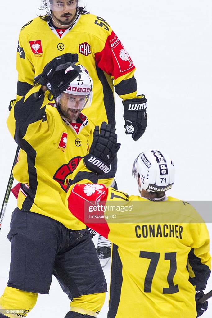 SC BernÕs Trevor Smith celebrates with Cory Conacher after Conachers goal during the Champions Hockey League group stage game between Linkoping HC and SC Bern on August 23, 2015 in Linkoping, Sweden.