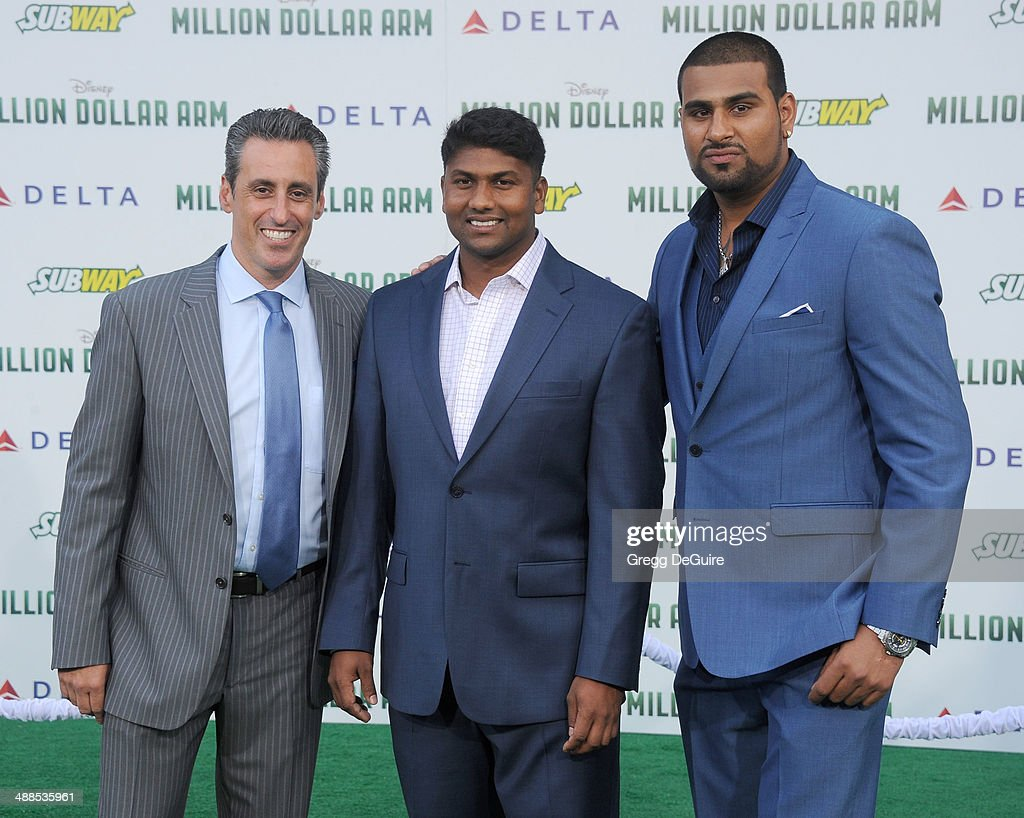 J.B. Bernstein, Dinesh Patel and Rinku Singh arrive at the Los Angeles premiere of 'Million Dollar Arm' at the El Capitan Theatre on May 6, 2014 in Hollywood, California.