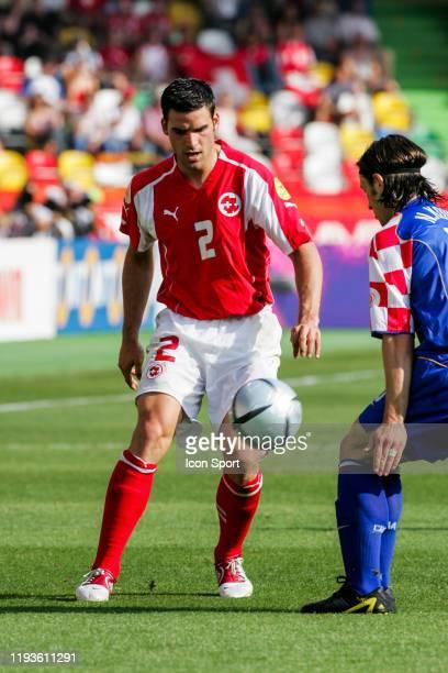 Bernt HAAS of Switzerland and Niko KOVAC of Croatia during the European Championship match between Switzerland and Croatia at Estadio Dr. Magalhaes...