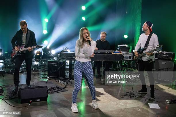 Bernt Rune Stray Mirjam Omdal Bård Kristian Kylland and Jonny Sjo from D'Sound perform on stage at a streaming concert at Sentralen during the...