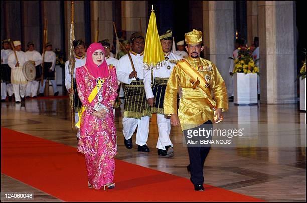 'Berpacar' ceremony in the Throne Chamber for the royal weeding of Crown Prince Haji Al Muhtadee and Dayangku Sarah In Bandar Seri Begawan Brunei...