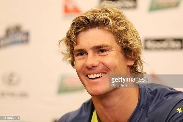 Berrick Barnes of the Australian Wallabies talks during a media conference on September 14 2012 in Gold Coast Australia