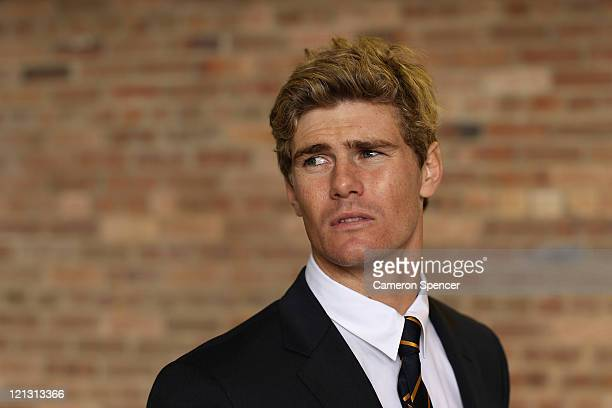 Berrick Barnes of the Wallabies poses during an Australian Wallabies 2011 Rugby World Cup Squad portrait session at Sydney International Airport on...