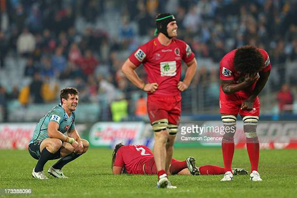 Berrick Barnes of the Waratahs reacts after missing a field goal during the round 20 Super Rugby match between the Waratahs and the Reds at ANZ...