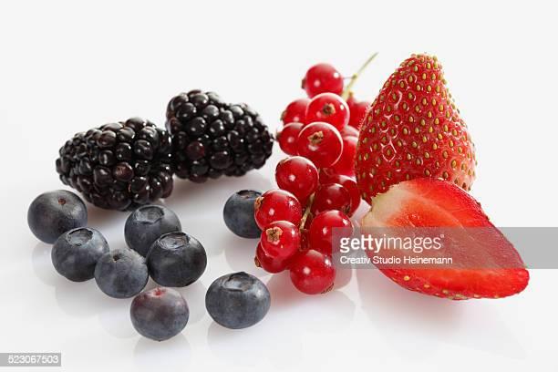 Berries, blackberries, blueberries, red currants, strawberries